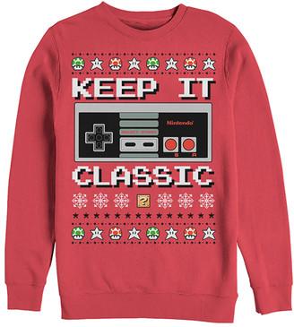 Fifth Sun Men's Sweatshirts and Hoodies RED - Nintendo Red Bit Xmas Stack Crewneck Sweatshirt - Men