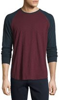 Vince Long-Sleeve Baseball T-Shirt, Oxblood/Coastal