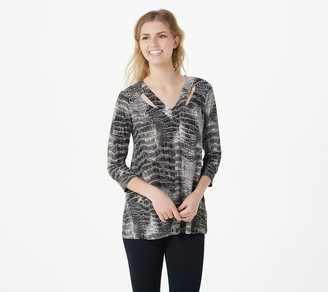 Women With Control Attitudes by Renee 3/4-Sleeves Cut-Out Tunic