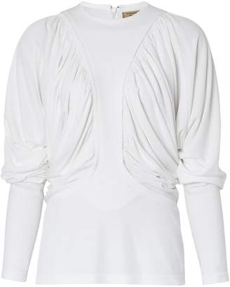 Burberry Long-sleeve Ruched Panel Jersey Top