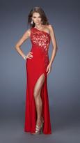 La Femme Asymmetrical Vivacity Lace Evening Dress 19934