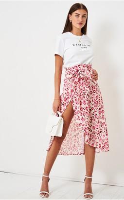 Love Frontrow Leopard Print Satin Wrap Skirt | Pink