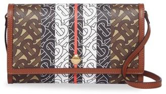 Burberry Hannah Monogram Stripe Wallet-On-Strap