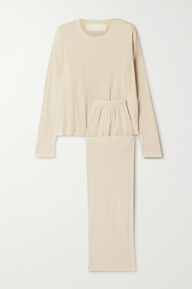 The Great The Lounge Pointelle-knit Cotton-blend Pajama Set - Beige