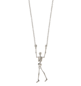 Vivienne Westwood Skeleton Long Necklace In Black Enamel