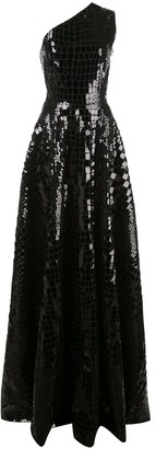 Alex Perry Jasper sequinned one-shoulder gown