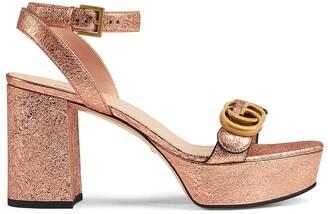 Gucci GG Metallic Ankle Strap Platform Sandal