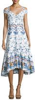 Peter Pilotto Bird & Floral Print Cold-Shoulder Midi Dress, Blue