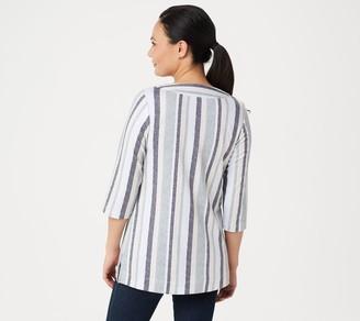 Denim & Co. Petite 3/4-Sleeve Striped Tunic