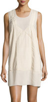 See by Chloe Pleated Sleeveless Shift Dress, Beige