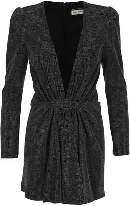 Saint Laurent Deep V-neck Dress With Micro Studs Embellishment