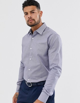 Tiger of Sweden Farrell cotton blend stretch twill slim fit shirt-Navy