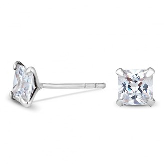 Simply Silver Sterling Silver 925 5mm Princess Cut CZ Studs