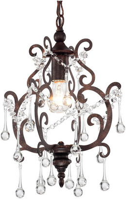 Edvivi Lighting 1-Light Antique Copper Mini Pendant Chandelier w/ Raindrop Crystals Gl