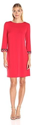 Amy Byer Women's 3/4 Beaded Sleeve Dress