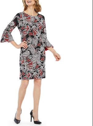 Liz Claiborne 3/4 Bell Sleeve Paisley Puff Print Shift Dress
