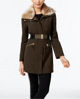 Via Spiga Faux-Fur-Collar Belted Coat