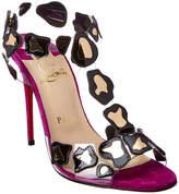 Christian Louboutin Parsemis 100 T-Strap Pvc & Suede Sandal