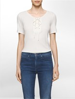 Calvin Klein Lace-Up Ribbed T-Shirt