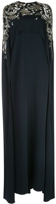 Oscar de la Renta Cape Embellished Long Dress