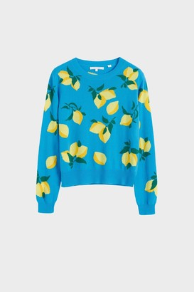 Parker Chinti & Blue Allover Lemon Cashmere Sweater