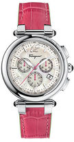 Salvatore Ferragamo Ladies Silver-Tone Chronograph Watch with Pink Leather Strap