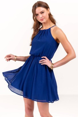Flawless Solid Dress in Navy - Navy