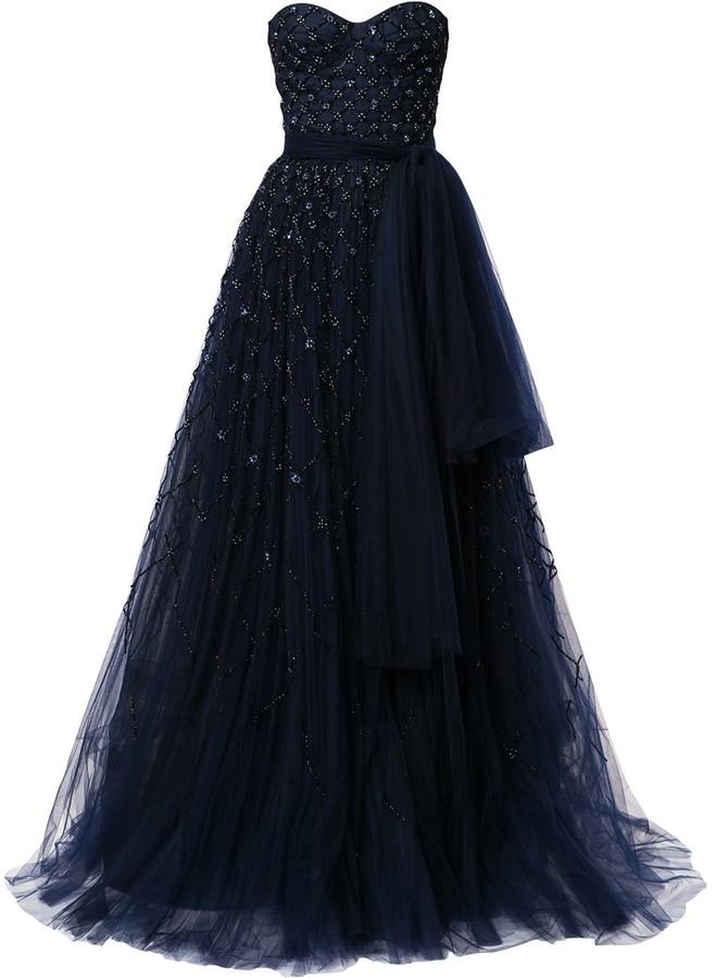 Carolina Herrera Bead-Embellished Strapless Gown