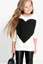 Boohoo Girls Heart Print Sweat Top