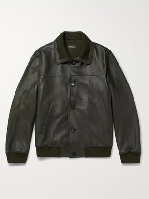 Loro Piana Full-Grain Leather Bomber Jacket - Men - Green
