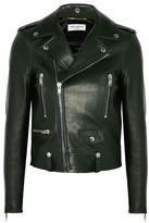 Saint Laurent Leather Biker Jacket - Forest green