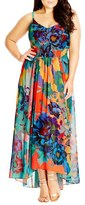 City Chic Plus Size Women's 'Hot Summer Days' Print High/low Maxi Dress