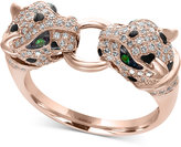 Effy Citrus by Diamond (1/2 ct. t.w.) and Tsavorite Accent Cat Ring in 14k Rose Gold