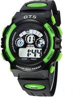 OTS Outdoor Multi-Function Digital Sport Watch Water Resistant Alarm Luminous LED Light Student Watch For Unisex Kids Boys Girls