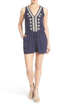 Gibson Embroidered V-Neck Romper