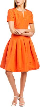 Oscar de la Renta Seamed Silk A-Line Dress