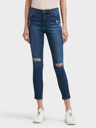 DKNY Women's Cropped Skinny Jean With Distressed Detail - Medium Blue - Size 27