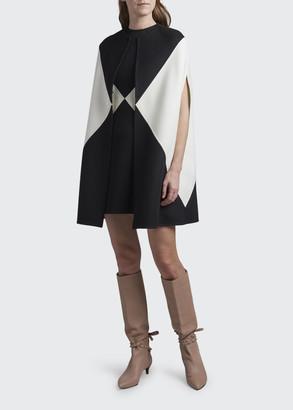 Valentino Colorblocked Wool-Cashmere Sleeveless Cape