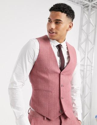 ASOS DESIGN wedding super skinny suit waistcoat in rose pink wool blend herringbone