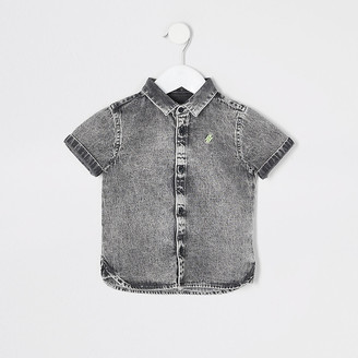 River Island Mini boys grey washed denim shirt