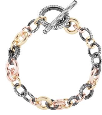 "Spinelli Kilcollin 18k Gold & Silver Multi-Chain Bracelet w/ Diamonds, 8""L"