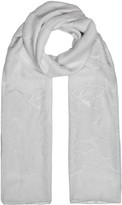 Armani Collezioni Light Grey Floral-jacquard Silk Blend Scarf
