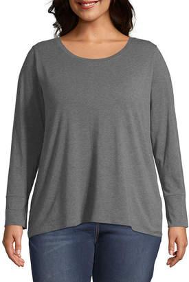 A.N.A Plus-Womens Crew Neck Long Sleeve T-Shirt