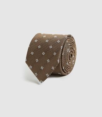 Reiss Holborn - Silk Geometric Tie in Gold