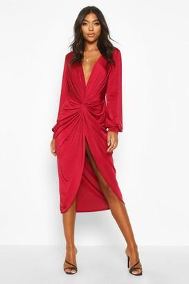 boohoo Tall Olivia Wrap Front Slinky Midi Dress