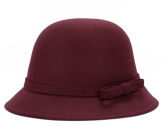 LAMEIDA Vintage Bowler Hats Fedora Cloche Bucket Hat Simple Soft Wool Winter Autumn Hat with Bowknot Dark Red