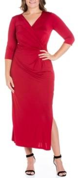 24seven Comfort Apparel Women's Plus Size Side Slit Maxi Dress