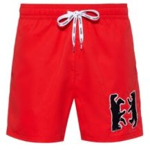 Quick-dry swim shorts with bear motif