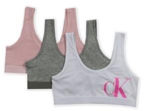 Calvin Klein Big Girls Crop Bralette, 3 Pack