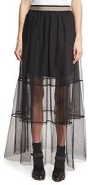 Brunello Cucinelli Sheer Tiered Tulle Maxi Skirt with Contrast Waist, Black